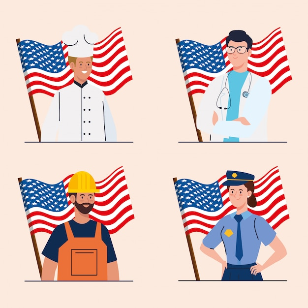 Chef doctor builder and police with usa flags