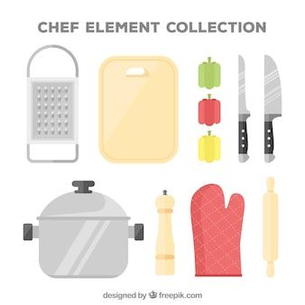 Collezione di elementi da cuoco