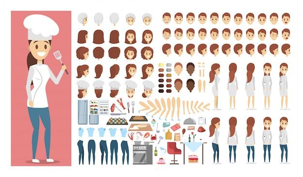 さまざまなビュー、ヘアスタイル、感情、ポーズ、ジェスチャーを備えたアニメーション用のユニフォームセットまたはキットのシェフの女性キャラクター。料理人と食べ物のための異なる機器。図