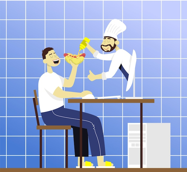 Chef from monitor watering mustard into a hot dog concept for food blogger and internet lesson
