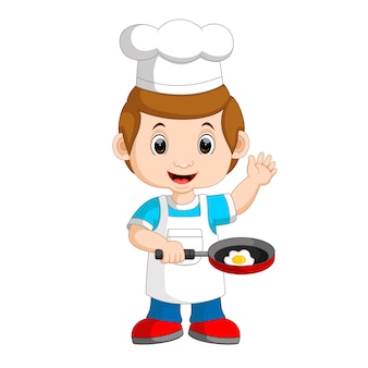 Chef frying egg