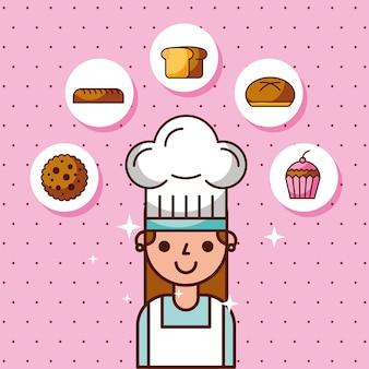Шеф-повар девушка характер хлеб торт печенье