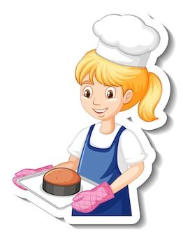 焼きトレイ漫画のキャラクターステッカーを保持しているシェフの女の子