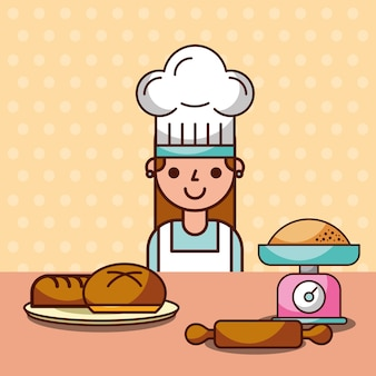 Chef girl making bread flour roller pin scale