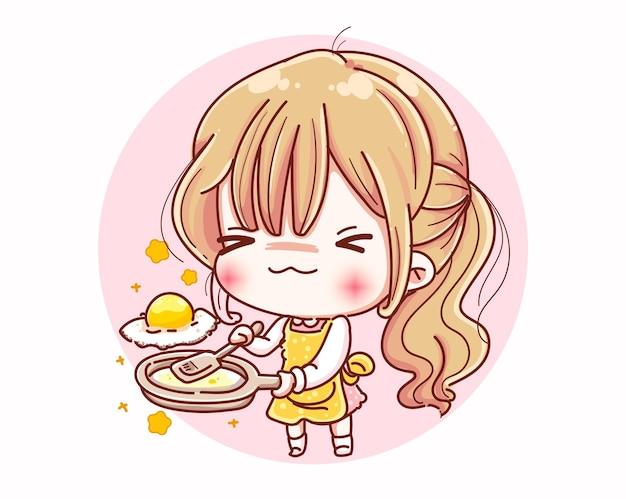 Девушка шеф-повара готовится к приготовлению пищи и дизайн персонажей из мультфильма.