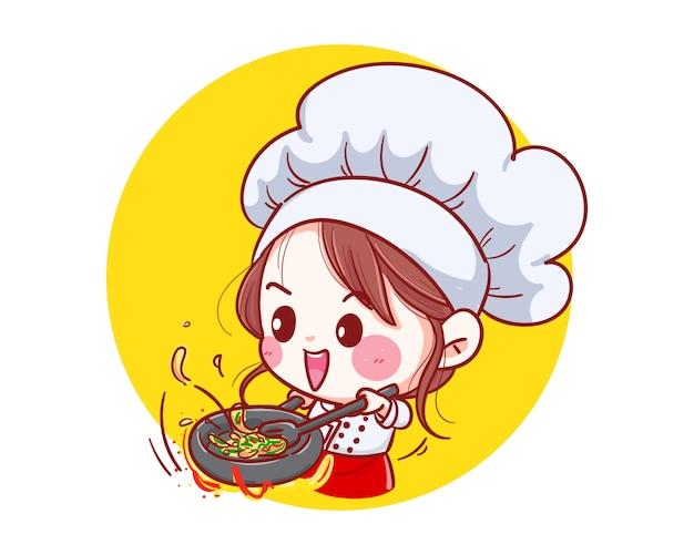 幸せな笑顔のシェフの女の子は、彼女のキッチンのイラストで幸せな愛を込めて料理をしています。
