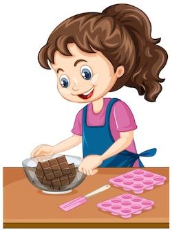 Девушка шеф-повара с оборудованием для выпечки на столе