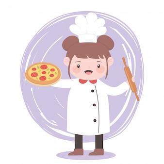 Повар девушка с пиццей и роликом мультипликационный персонаж