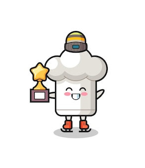 Chef hat cartoon as an ice skating player hold winner trophy , cute style design for t shirt, sticker, logo element