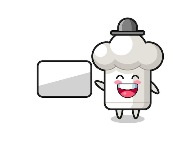 プレゼンテーションを行うシェフの帽子の漫画イラスト、tシャツ、ステッカー、ロゴ要素のかわいいスタイルのデザイン
