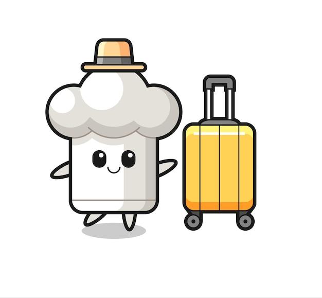 休暇中の荷物とシェフの帽子の漫画イラスト、tシャツ、ステッカー、ロゴ要素のかわいいスタイルのデザイン