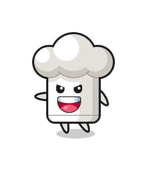 매우 흥분된 포즈를 가진 요리사 모자 만화, 티셔츠, 스티커, 로고 요소를 위한 귀여운 스타일 디자인