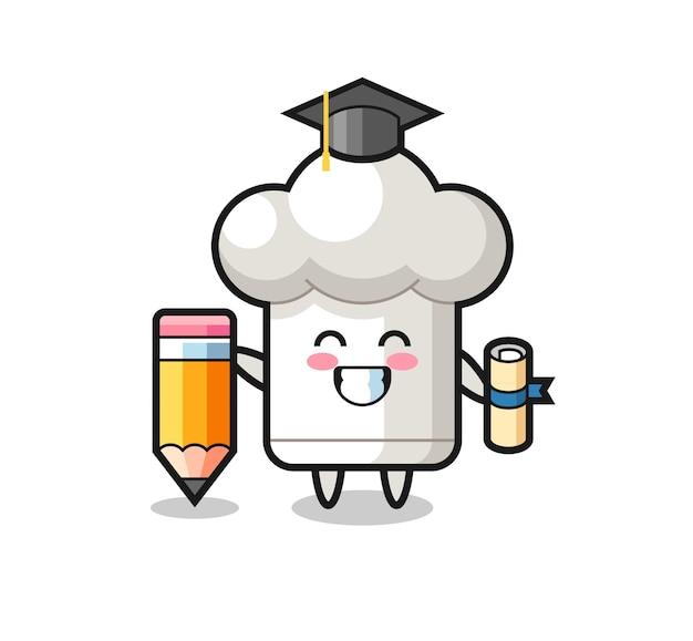 요리사 모자 그림 만화는 티셔츠, 스티커, 로고 요소를 위한 귀여운 스타일 디자인, 거대한 연필로 졸업합니다.