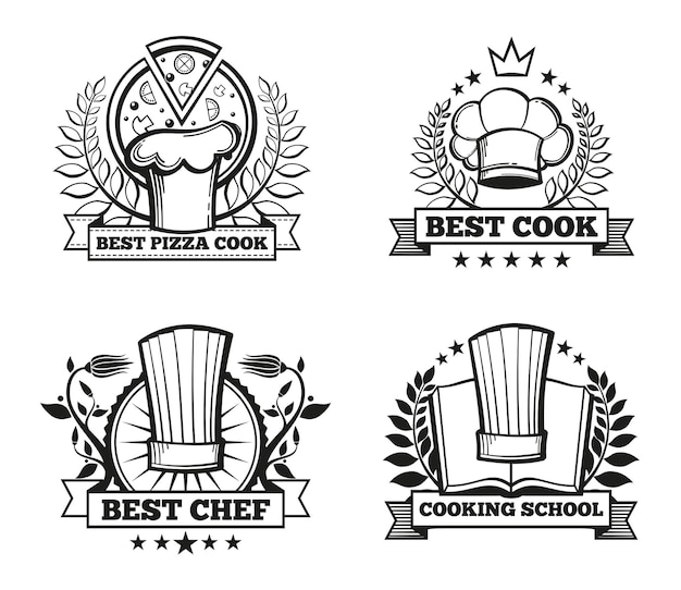 Chef hat labels template set