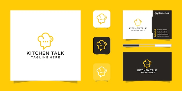 Chef hat logo and negative space chat icon and business card inspiration