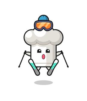 스키 선수로서의 요리사 모자 마스코트 캐릭터, 티셔츠, 스티커, 로고 요소를 위한 귀여운 스타일 디자인