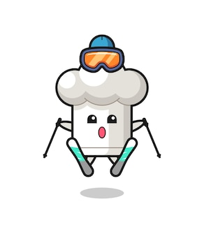 Chef hat mascot character as a ski player , cute style design for t shirt, sticker, logo element