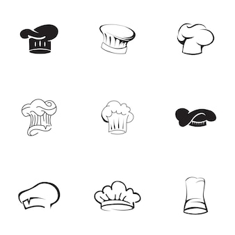 요리사 모자 벡터 세트입니다. 간단한 요리사 모자 모양 그림, 편집 가능한 요소는 로고 디자인에 사용할 수 있습니다.
