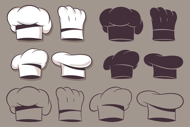 요리사 모자 만화 세트 배경에 고립
