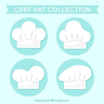 4種類のデザインのシェフの帽子