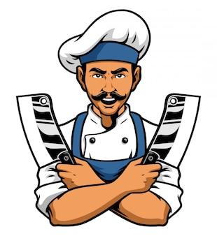 Шеф-повар держит нож