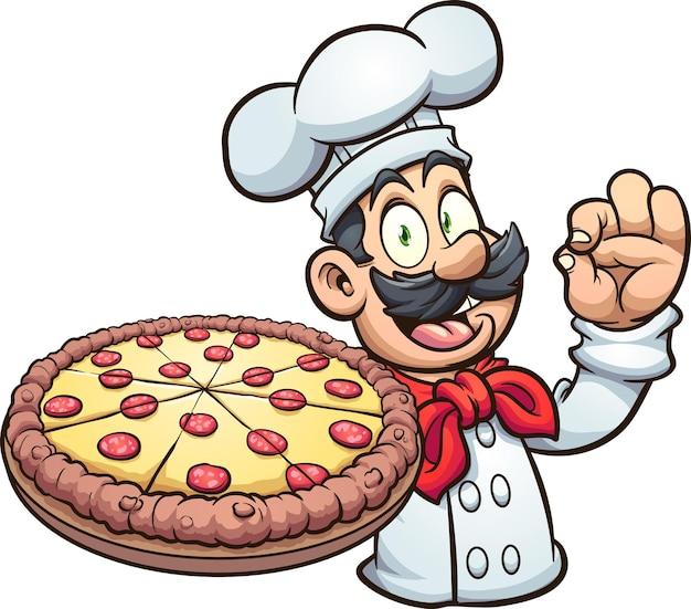 Повар держит большую пиццу пепперони