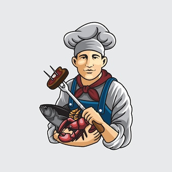 Chef holding shrimp fish and lobsters cartoon illustration