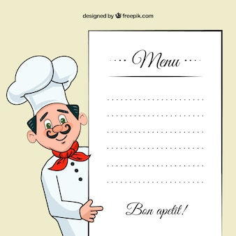 Chef illustration with a menu template