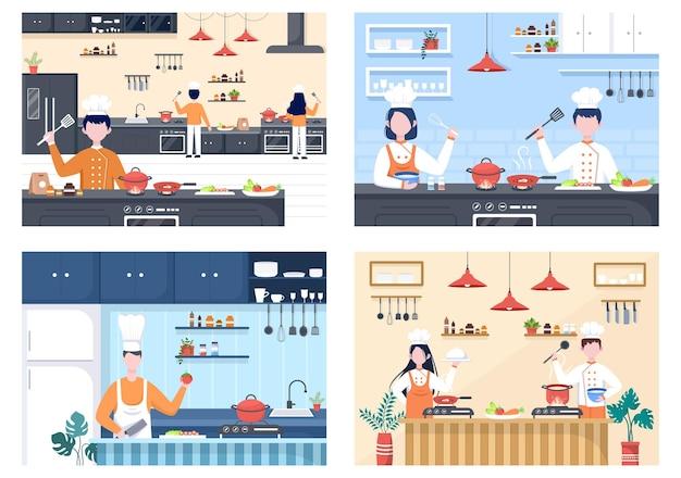 요리사는 쟁반, 재료 또는 다른 식사로 부엌에서 요리하고 있습니다. 인테리어 가구 및 기구 배경 방문 페이지 그림 프리미엄 벡터