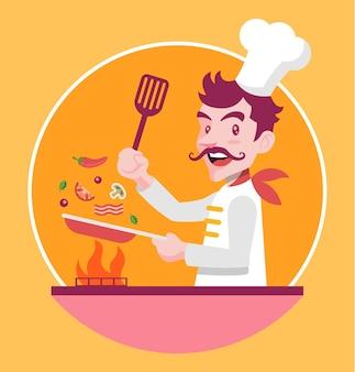 Шеф-повар готовит с инструментами и ингредиентами