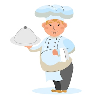 The chef is a full-length chef with a dish in his hand on a white isoliral background. vector illustration in the style of cartoons.
