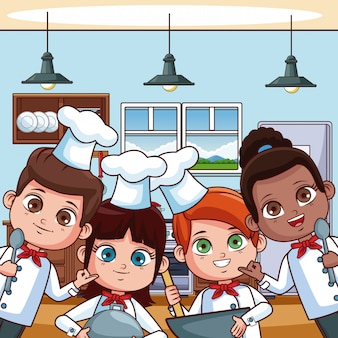 Chef kids cooking at kitchen cartoons