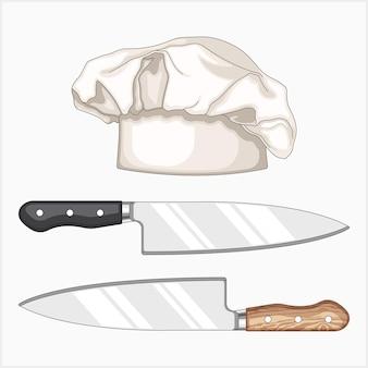 シェフのナイフとシェフの帽子のイラスト