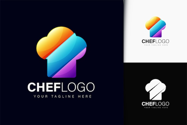 Дизайн логотипа шеф-повара с градиентом