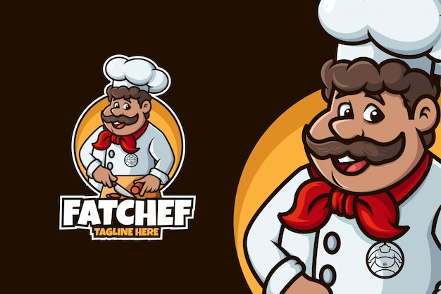 Chef logo with fat man and cutting pose