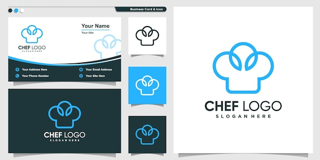 Chef logo with modern bold line art style and business card design template premium vector