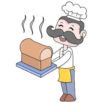 The chef makes and serves white bread, vector illustration art. doodle icon image kawaii.