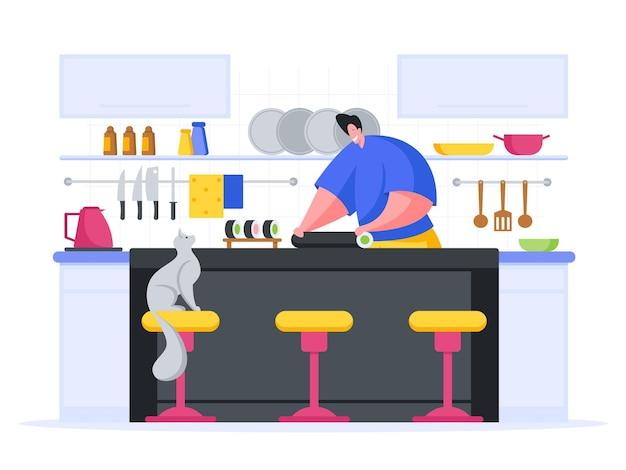 Chef makes sushi rolls cartoon illustration