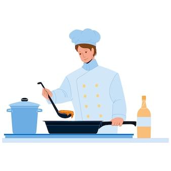 레스토랑 주방 벡터에 요리하는 요리사 남자. 맛있는 요리를 준비하는 요리사 남자. 전문 양복과 모자를 입고 캐릭터 밥솥 주방 용품 평면 만화 그림에서 진미 식사 음식을 요리