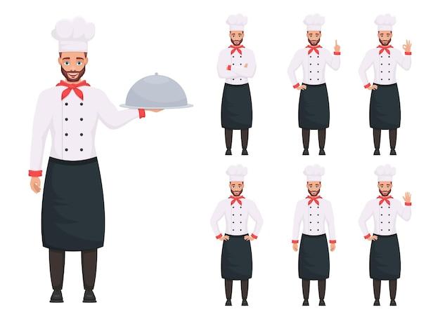 Иллюстрация дизайна человека шеф-повара, изолированные на белом фоне