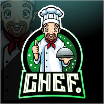 Талисман шеф-повара. киберспорт дизайн логотипа