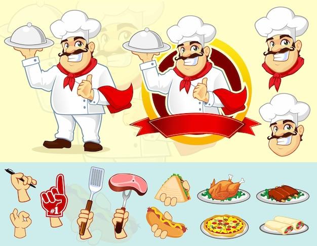 요리사 마스코트 로고 만화