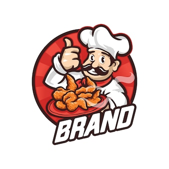 Chef mascot logo illustration