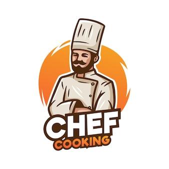 Chef mascot logo illustration