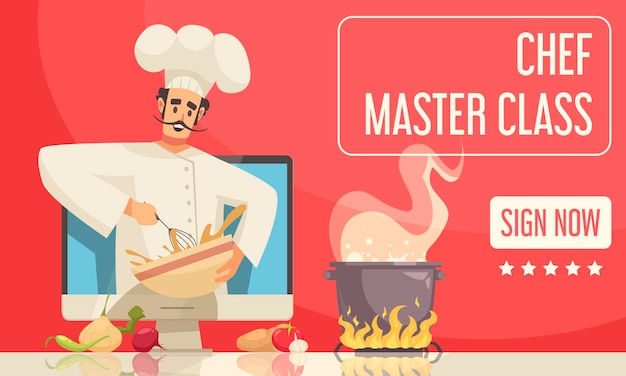 Chef master class banner illustration