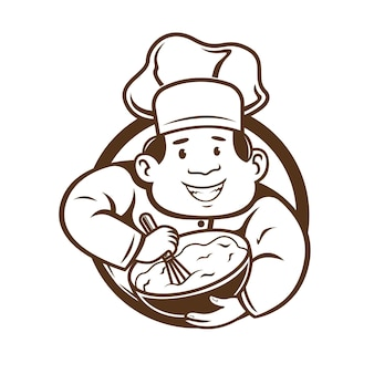 Chef mix the dough logo character