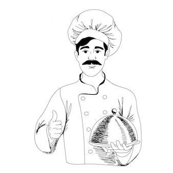 Шеф-повар ресторана держит в руке приготовленное блюдо, векторная иллюстрация в стиле каракули