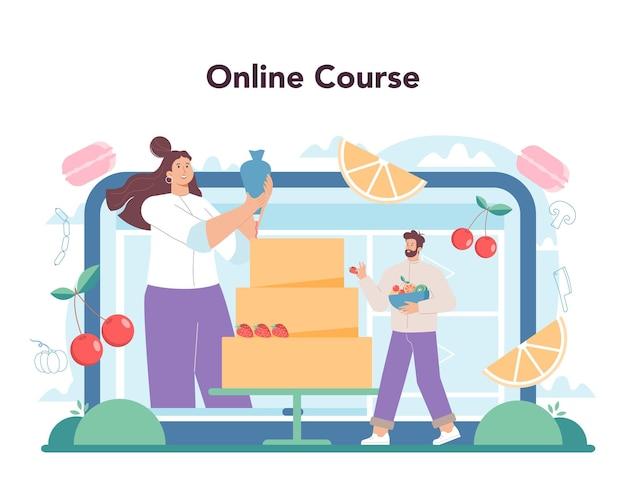 Шеф-повар онлайн-сервис или платформа кулинара в фартуке