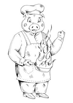 Свинья повара, одетая в шляпу повара, держащую кастрюлю с огнем. векторные цветные старинные гравюры иллюстрации. изолированные на белом фоне.