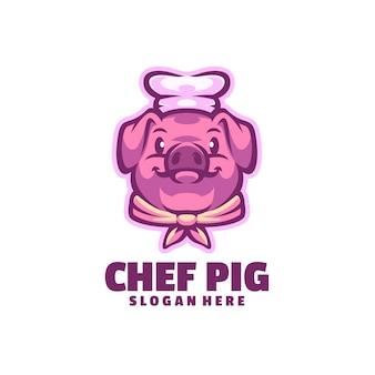 白で隔離されるシェフ豚のロゴ
